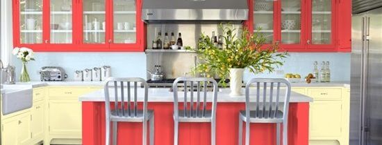 Kitchen Cabinets Get Colorful Domicile Designs - Red and grey kitchen cabinets